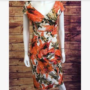 Erdem Orange Floral Print Cap Sleeve Midi Dress